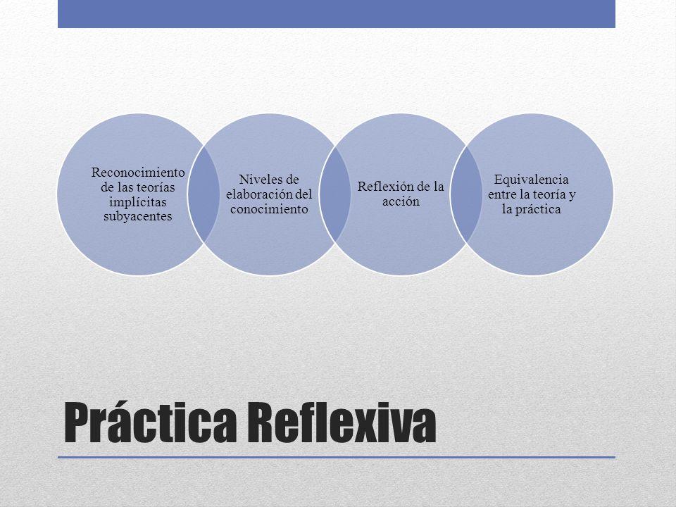 Práctica Reflexiva Reconocimiento de las teorías implícitas subyacentes Niveles de elaboración del conocimiento Reflexión de la acción Equivalencia entre la teoría y la práctica