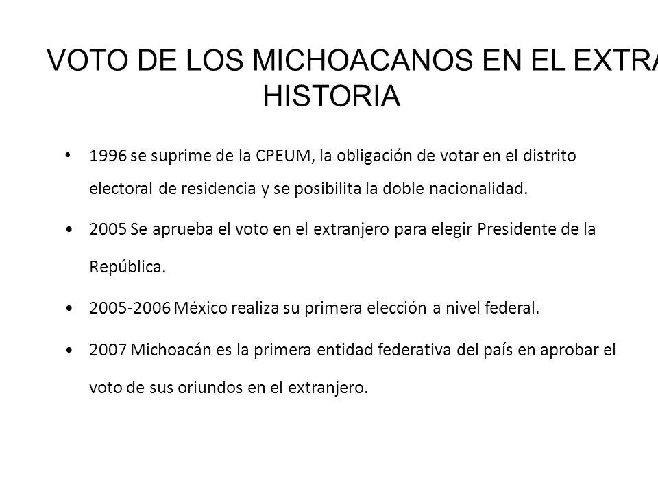 1996 se suprime de la CPEUM, la obligación de votar en el distrito electoral de residencia y se posibilita la doble nacionalidad. 2005 Se aprueba el v