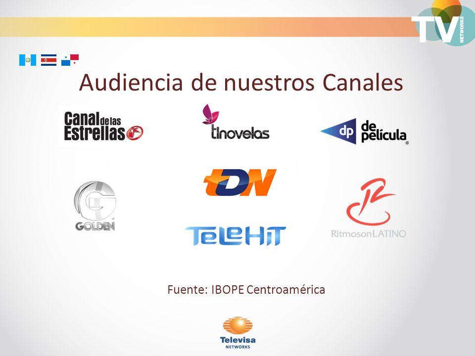 Audiencia de nuestros Canales Fuente: IBOPE Centroamérica