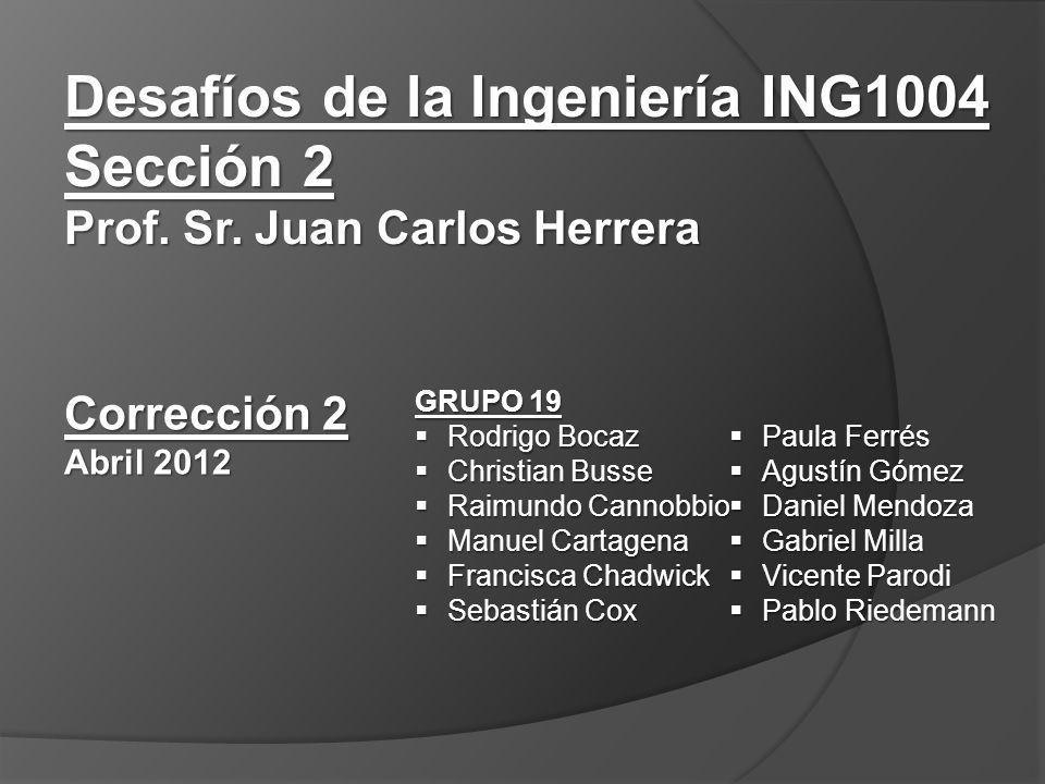 Desafíos de la Ingeniería ING1004 Sección 2 Prof. Sr.