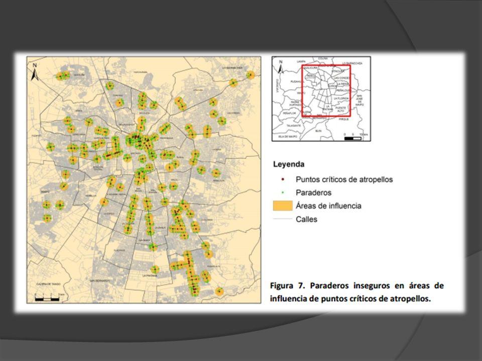 De 10.968 registros de paraderos en el Gran Santiago, un total de 2.391 fueron identificados como potencialmente inseguros Nueve de los 20 puntos más críticos identificados, se relaciona directamente con 17 de los 20 paraderos más inseguros