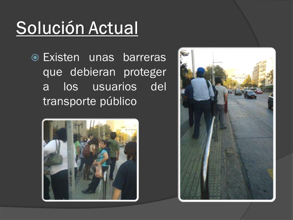 Solución Actual Existen unas barreras que debieran proteger a los usuarios del transporte público