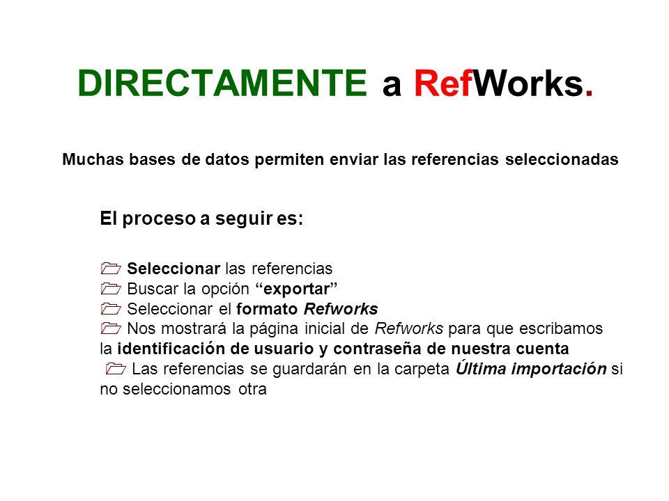 DIRECTAMENTE a RefWorks.