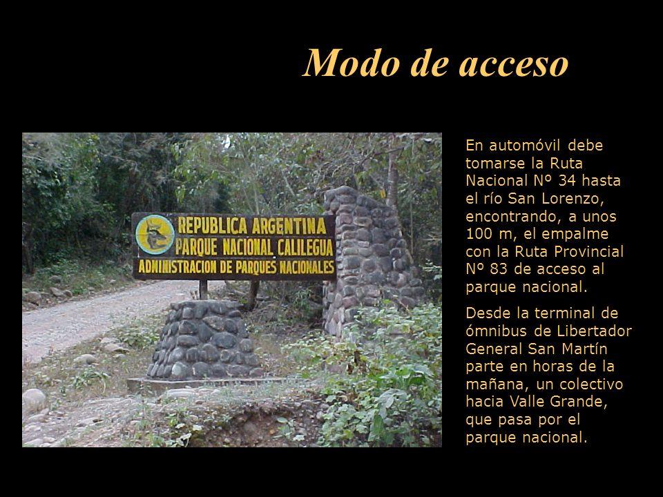 En automóvil debe tomarse la Ruta Nacional Nº 34 hasta el río San Lorenzo, encontrando, a unos 100 m, el empalme con la Ruta Provincial Nº 83 de acceso al parque nacional.