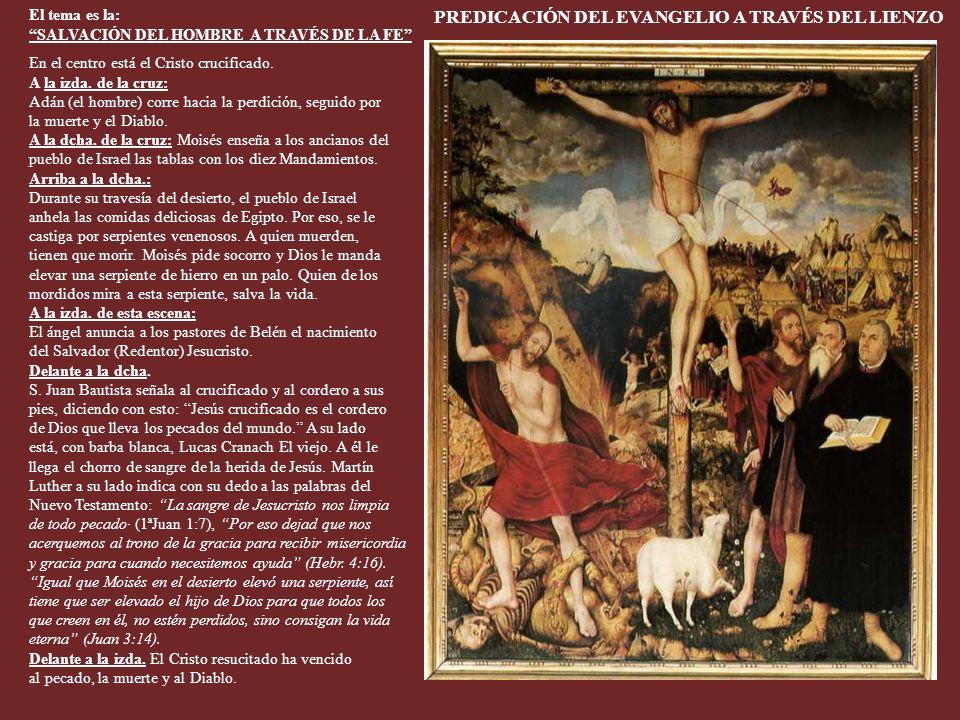 En el centro se puede admirar el célebre retablo de Lucas Cranach e hijo. Terminado en 1555. Ver su significado en la siguiente diapositiva. Ver el si