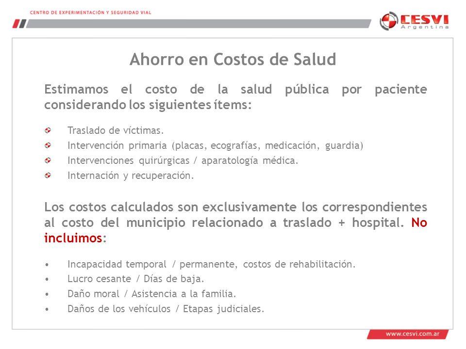 Estimamos el costo de la salud pública por paciente considerando los siguientes ítems: Traslado de víctimas.