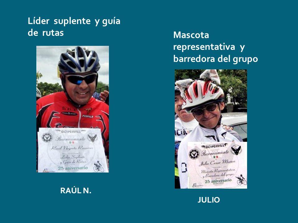 Líder suplente y guía de rutas RAÚL N. Mascota representativa y barredora del grupo JULIO