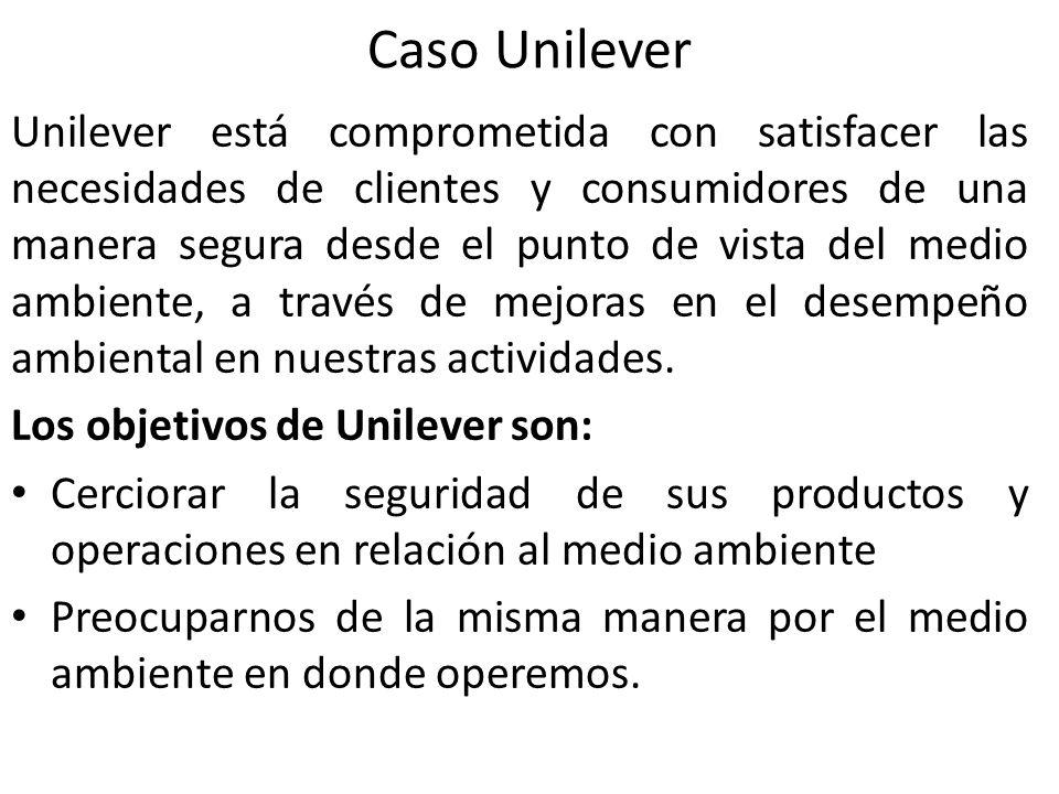Caso Unilever Unilever está comprometida con satisfacer las necesidades de clientes y consumidores de una manera segura desde el punto de vista del me