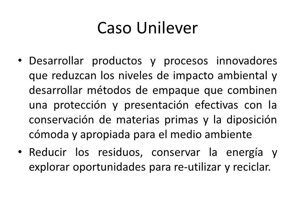 Caso Unilever Desarrollar productos y procesos innovadores que reduzcan los niveles de impacto ambiental y desarrollar métodos de empaque que combinen