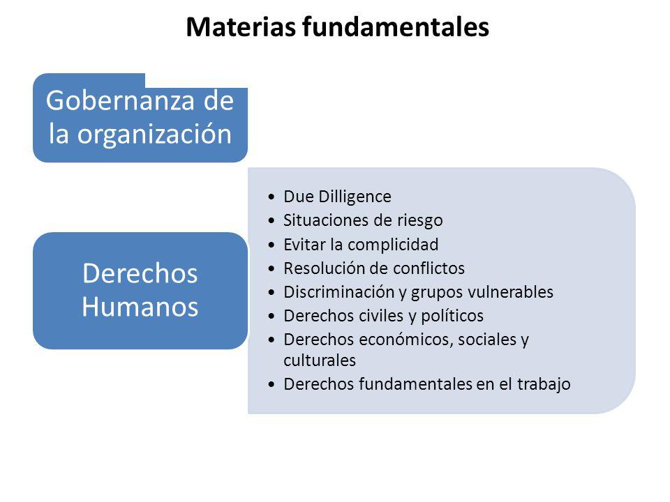 Gobernanza de la organización Due Dilligence Situaciones de riesgo Evitar la complicidad Resolución de conflictos Discriminación y grupos vulnerables