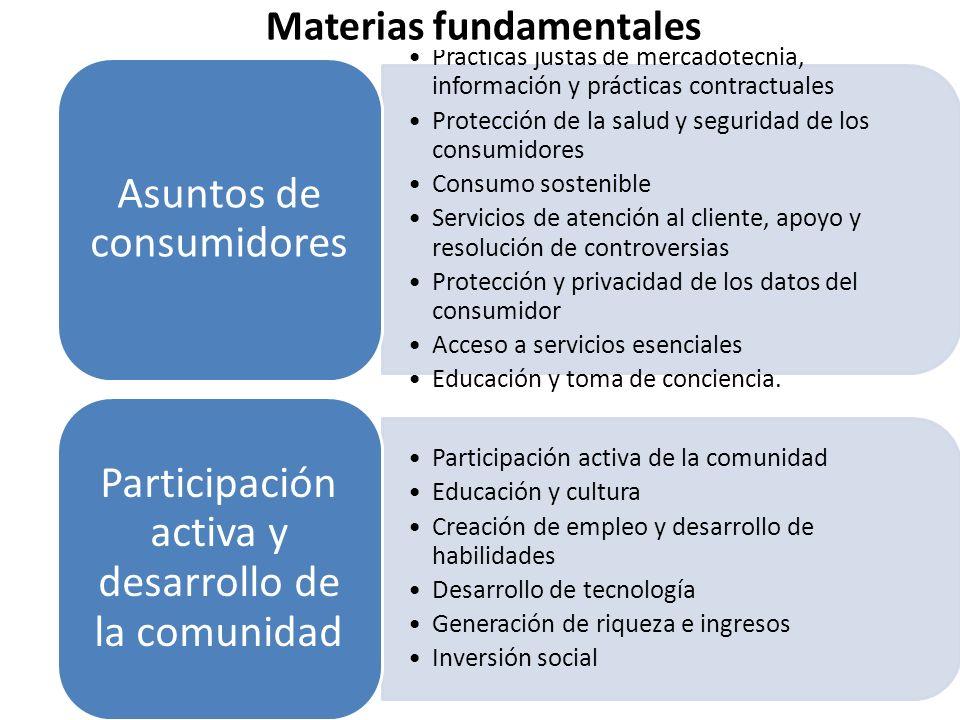 Prácticas justas de mercadotecnia, información y prácticas contractuales Protección de la salud y seguridad de los consumidores Consumo sostenible Ser