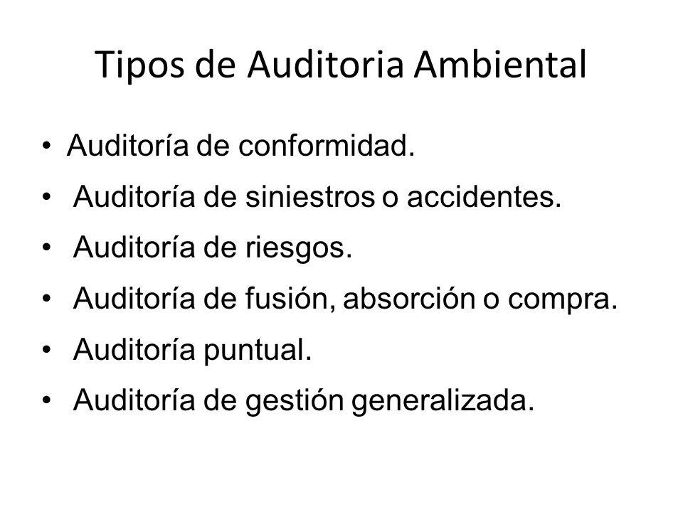 Tipos de Auditoria Ambiental Auditoría de conformidad. Auditoría de siniestros o accidentes. Auditoría de riesgos. Auditoría de fusión, absorción o co