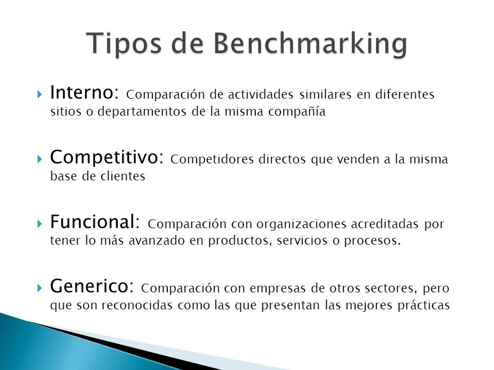 Interno: Comparación de actividades similares en diferentes sitios o departamentos de la misma compañía Competitivo: Competidores directos que venden