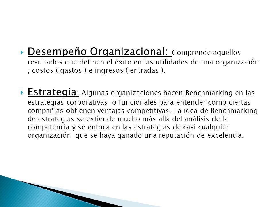 Desempeño Organizacional: Comprende aquellos resultados que definen el éxito en las utilidades de una organización ; costos ( gastos ) e ingresos ( en
