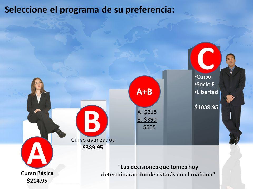 Seleccione el programa de su preferencia: A Curso Básica $214.95 B Curso avanzados $389.95 C Curso Socio F.