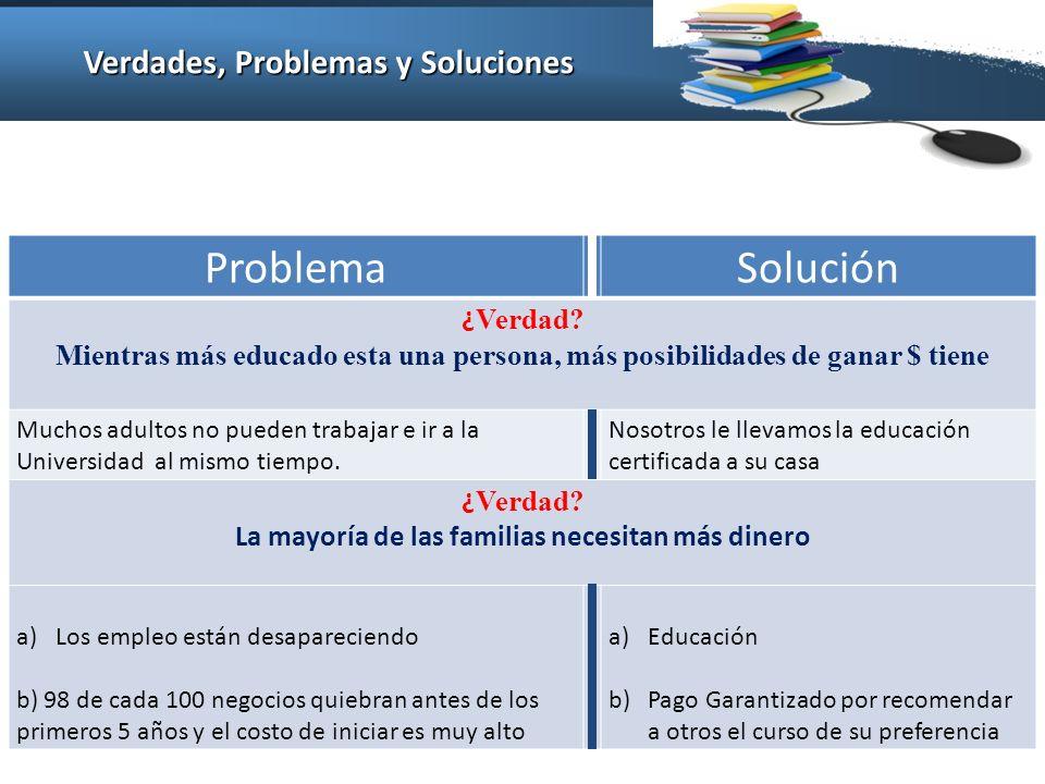 Verdades, Problemas y Soluciones ProblemaSolución ¿ Verdad.