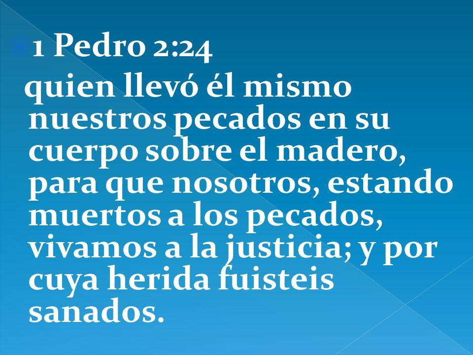 1 Pedro 2:24 quien llevó él mismo nuestros pecados en su cuerpo sobre el madero, para que nosotros, estando muertos a los pecados, vivamos a la justic