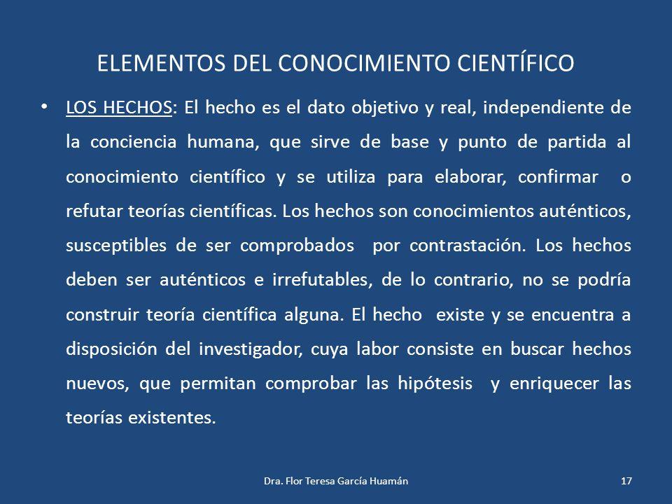 ELEMENTOS DEL CONOCIMIENTO CIENTÍFICO LOS HECHOS: El hecho es el dato objetivo y real, independiente de la conciencia humana, que sirve de base y punt