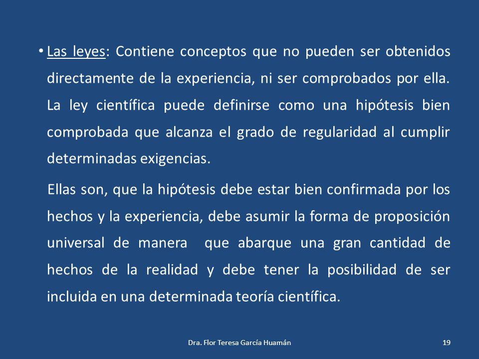 Las leyes: Contiene conceptos que no pueden ser obtenidos directamente de la experiencia, ni ser comprobados por ella. La ley científica puede definir
