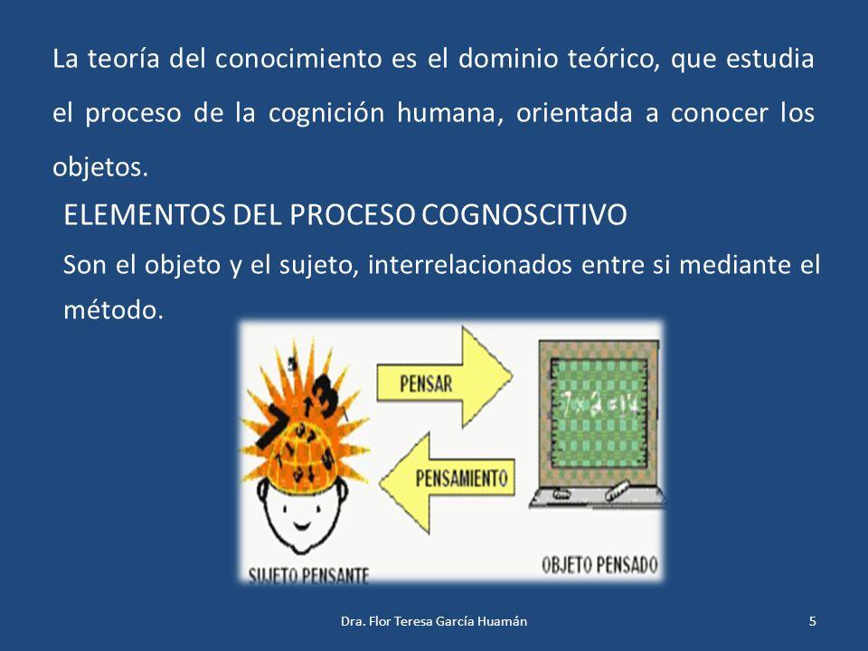 La teoría del conocimiento es el dominio teórico, que estudia el proceso de la cognición humana, orientada a conocer los objetos. ELEMENTOS DEL PROCES