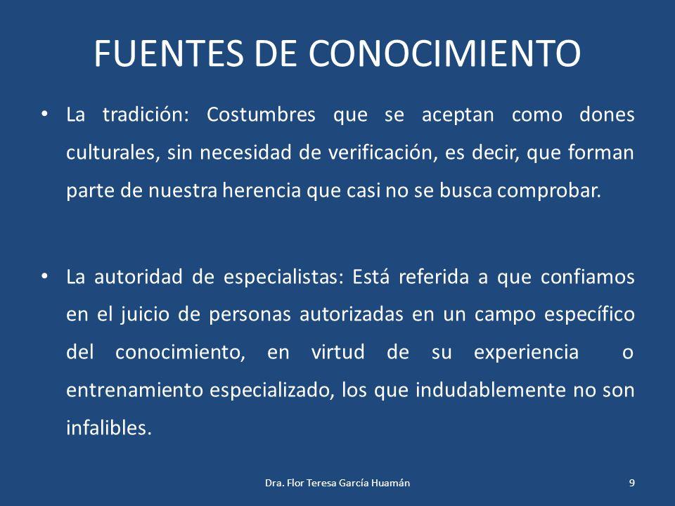 FUENTES DE CONOCIMIENTO La tradición: Costumbres que se aceptan como dones culturales, sin necesidad de verificación, es decir, que forman parte de nu