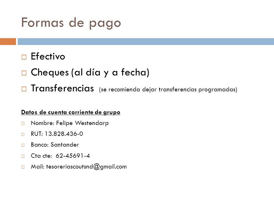 Formas de pago Efectivo Cheques (al día y a fecha) Transferencias (se recomienda dejar transferencias programadas) Datos de cuenta corriente de grupo