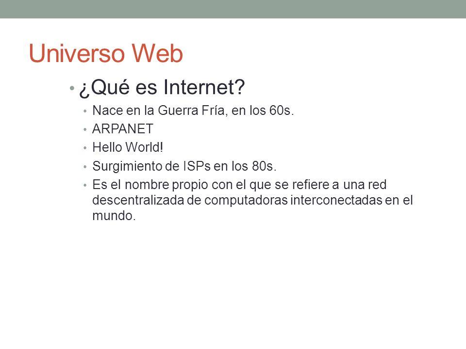 Universo Web ¿Qué es Internet. Nace en la Guerra Fría, en los 60s.
