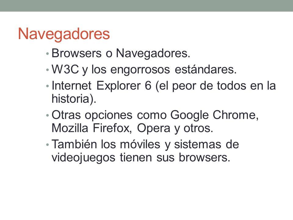 Navegadores Browsers o Navegadores. W3C y los engorrosos estándares.