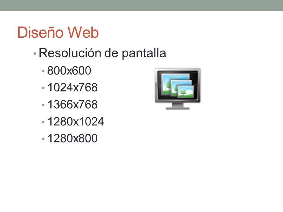 Diseño Web Resolución de pantalla 800x600 1024x768 1366x768 1280x1024 1280x800