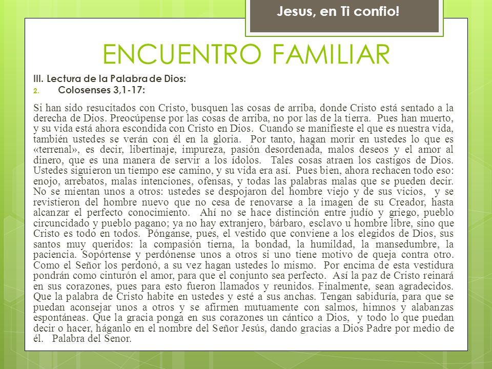 Cantico: Mas alla (Mari) Jesus, en Ti confio! ENCUENTRO FAMILIAR