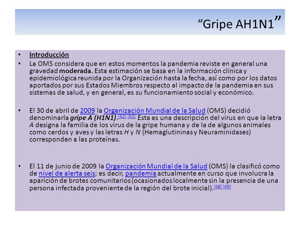 Gripe AH1N1 Introducción La OMS considera que en estos momentos la pandemia reviste en general una gravedad moderada. Esta estimación se basa en la in