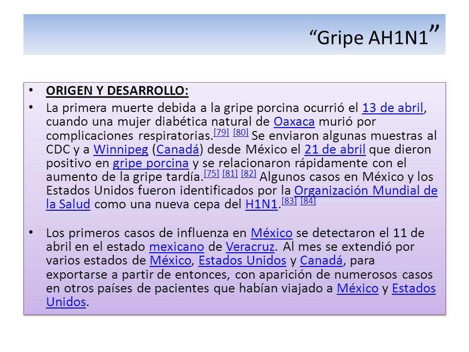 Gripe AH1N1 ORIGEN Y DESARROLLO: La primera muerte debida a la gripe porcina ocurrió el 13 de abril, cuando una mujer diabética natural de Oaxaca muri