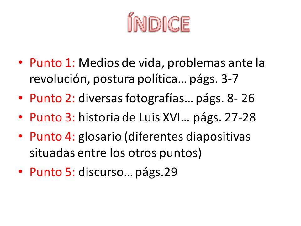 Punto 1: Medios de vida, problemas ante la revolución, postura política… págs. 3-7 Punto 2: diversas fotografías… págs. 8- 26 Punto 3: historia de Lui