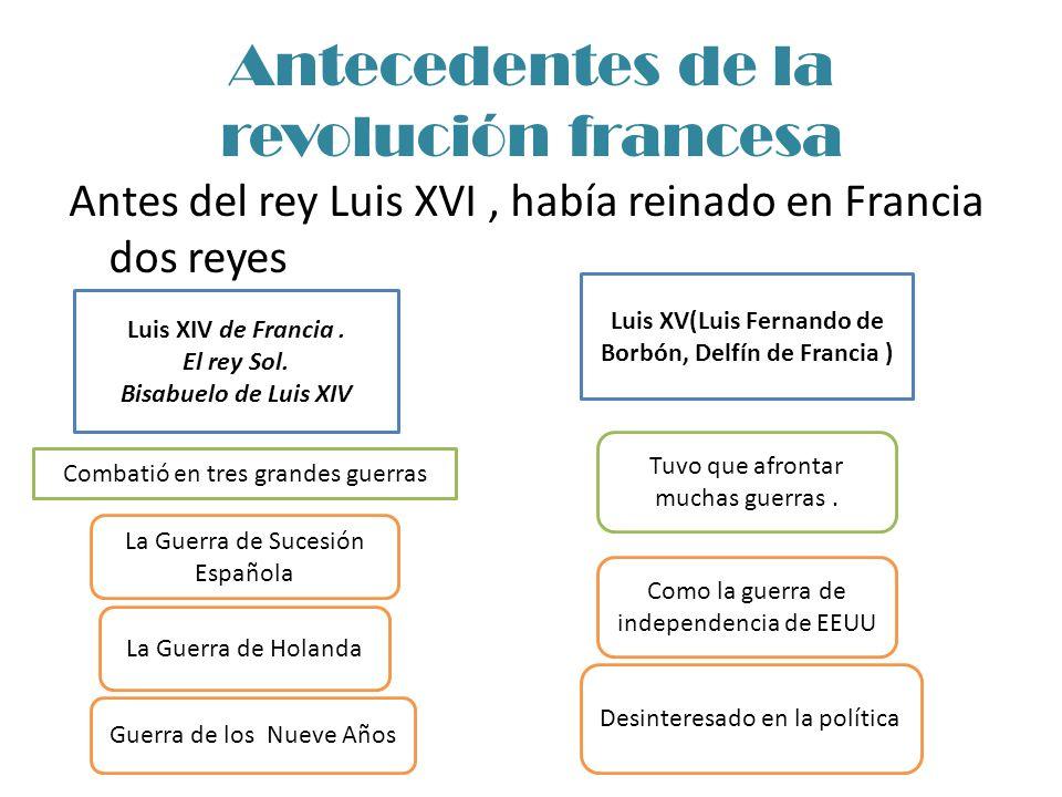 Antecedentes de la revolución francesa Antes del rey Luis XVI, había reinado en Francia dos reyes Luis XV(Luis Fernando de Borbón, Delfín de Francia )