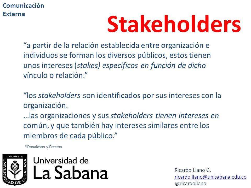 Ricardo Llano G. ricardo.llano@unisabana.edu.co @ricardollano Comunicación Externa Stakeholders a partir de la relación establecida entre organización