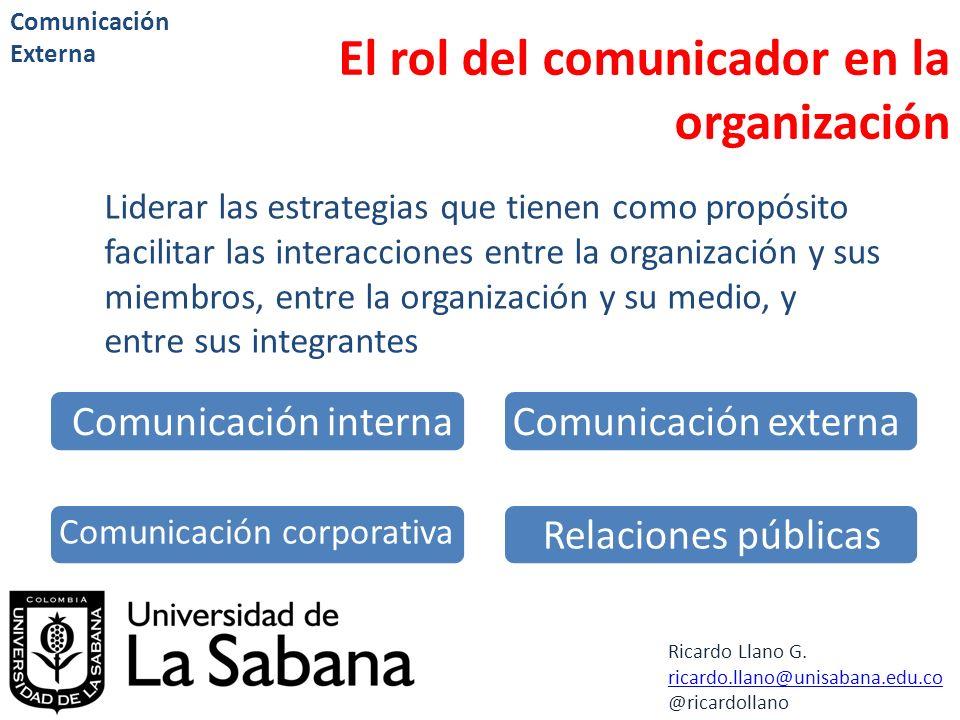 Ricardo Llano G. ricardo.llano@unisabana.edu.co @ricardollano Comunicación Externa El rol del comunicador en la organización Liderar las estrategias q
