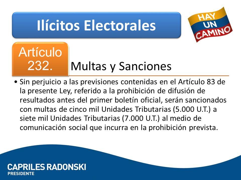 Multas y Sanciones Artículo 232. Sin perjuicio a las previsiones contenidas en el Artículo 83 de la presente Ley, referido a la prohibición de difusi