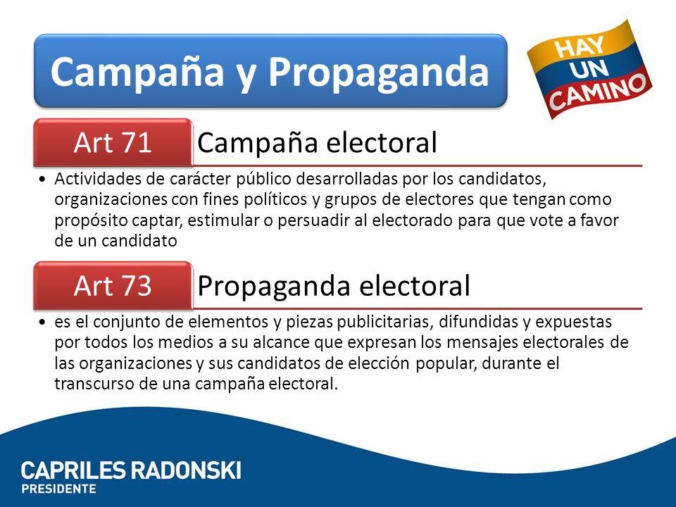 Campaña electoral Art 71 Actividades de carácter público desarrolladas por los candidatos, organizaciones con fines políticos y grupos de electores qu