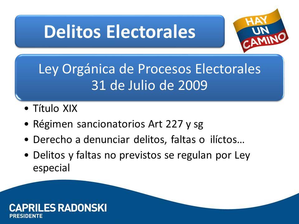 Ley Orgánica de Procesos Electorales 31 de Julio de 2009 Título XIX Régimen sancionatorios Art 227 y sg Derecho a denunciar delitos, faltas o ilíctos…