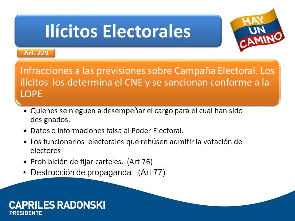 Infracciones a las previsiones sobre Campaña Electoral. Los ilícitos los determina el CNE y se sancionan conforme a la LOPE Quienes se nieguen a dese