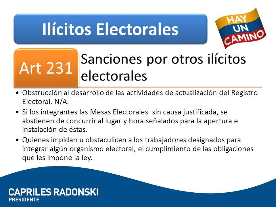 Sanciones por otros ilícitos electorales Art 231 Obstrucción al desarrollo de las actividades de actualización del Registro Electoral. N/A. Si los in