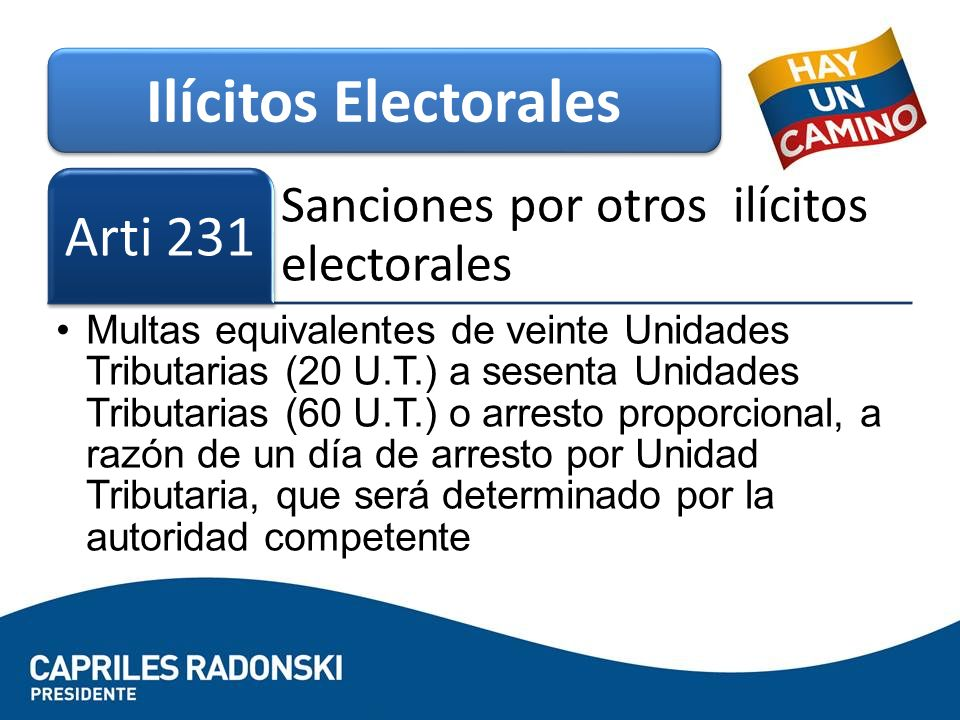 Sanciones por otros ilícitos electorales Arti 231 Multas equivalentes de veinte Unidades Tributarias (20 U.T.) a sesenta Unidades Tributarias (60 U.T.