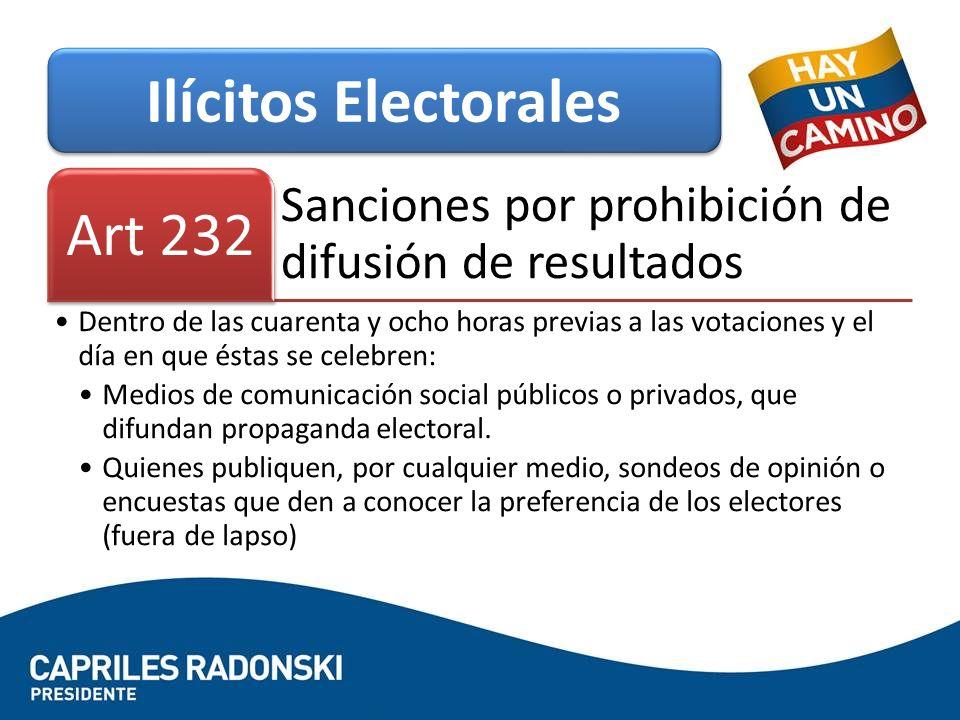 Sanciones por prohibición de difusión de resultados Art 232 Dentro de las cuarenta y ocho horas previas a las votaciones y el día en que éstas se cele