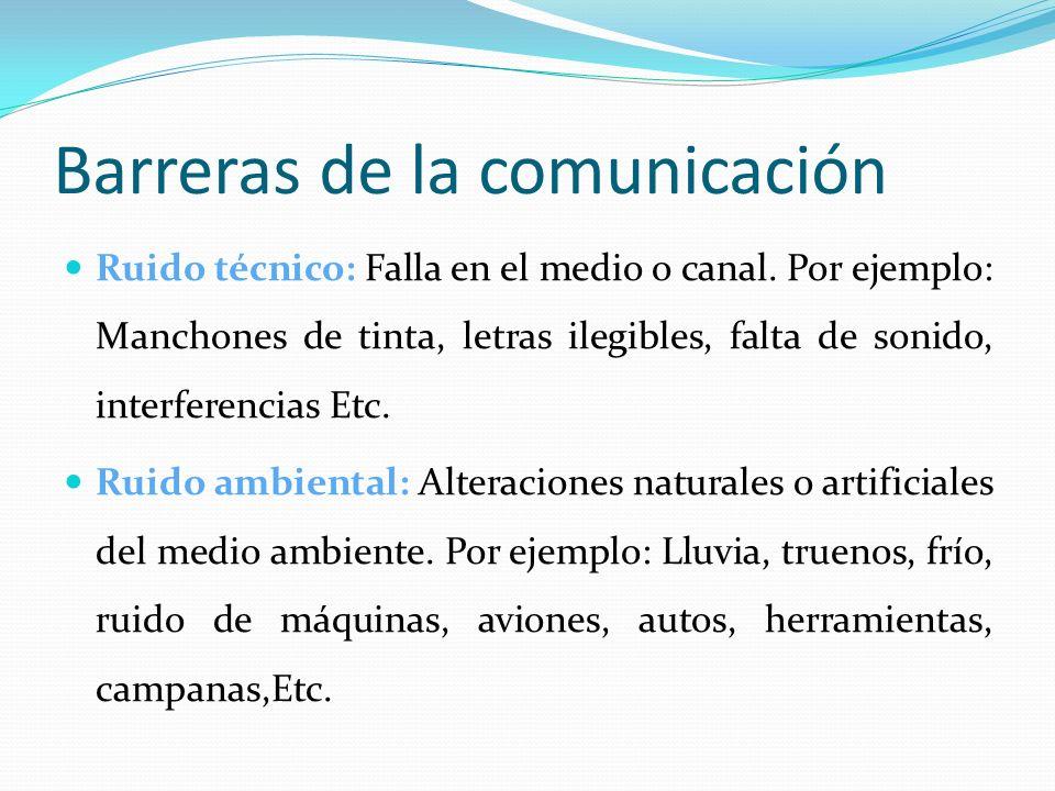 Barreras de la comunicación Ruido técnico: Falla en el medio o canal. Por ejemplo: Manchones de tinta, letras ilegibles, falta de sonido, interferenci