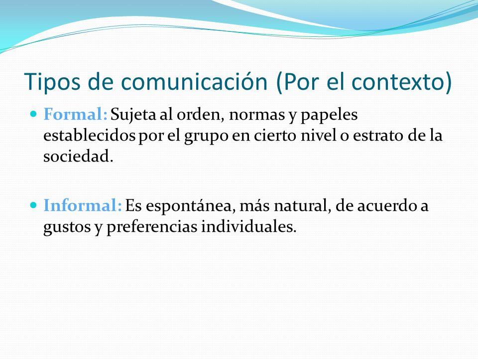 Tipos de comunicación (Por el contexto) Formal: Sujeta al orden, normas y papeles establecidos por el grupo en cierto nivel o estrato de la sociedad.