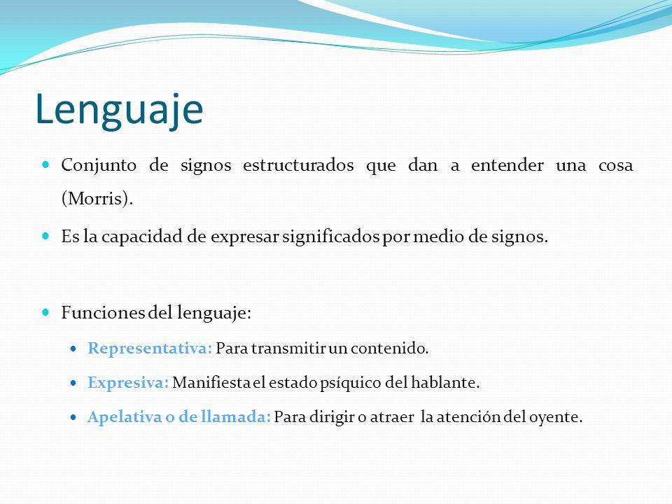 Lenguaje Conjunto de signos estructurados que dan a entender una cosa (Morris). Es la capacidad de expresar significados por medio de signos. Funcione