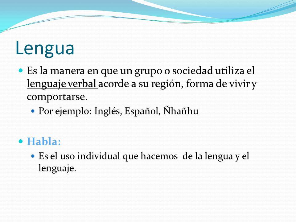 Lengua Es la manera en que un grupo o sociedad utiliza el lenguaje verbal acorde a su región, forma de vivir y comportarse. Por ejemplo: Inglés, Españ