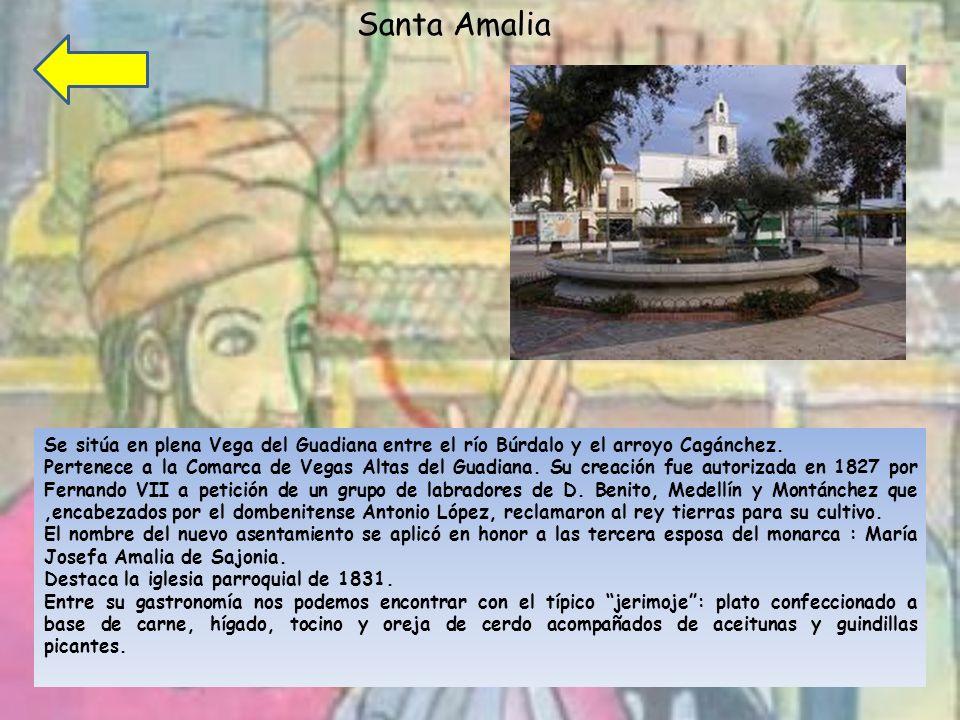 Santa Amalia Se sitúa en plena Vega del Guadiana entre el río Búrdalo y el arroyo Cagánchez.