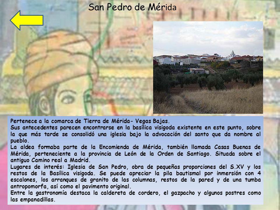 San Pedro de Mér ida Pertenece a la comarca de Tierra de Mérida- Vegas Bajas.
