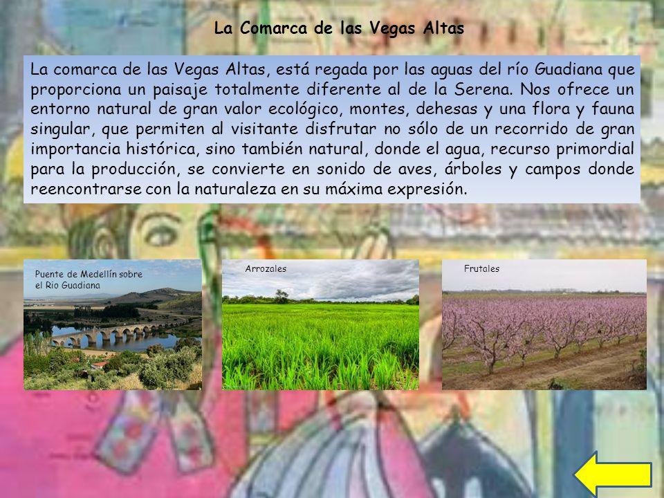 La Comarca de las Vegas Altas La comarca de las Vegas Altas, está regada por las aguas del río Guadiana que proporciona un paisaje totalmente diferente al de la Serena.